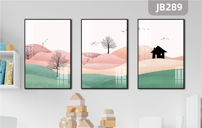 风景飞鸟树木房屋新中式风格客厅装饰画卧室墙壁挂画床头三联挂画