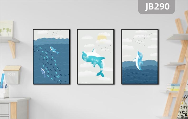 北欧客厅装饰画沙发背景墙三联挂画现代简约餐厅卧室挂画海豚海洋