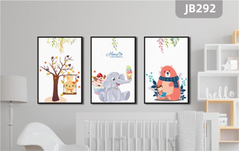 童趣装饰画儿童房卡通可爱动物大象熊挂画卧室房间装饰画客厅三联挂画