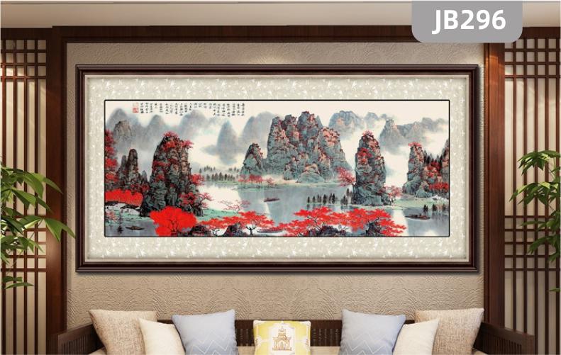 手绘桂林山水甲天下纯手绘装饰画客厅挂画玄关装饰画沙发背景墙挂画