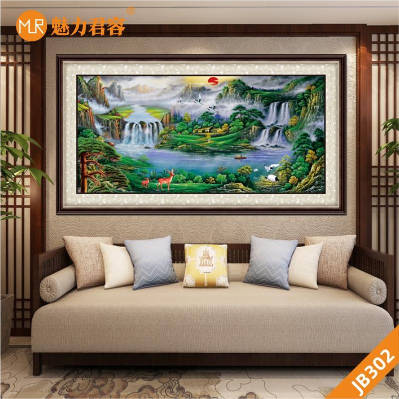 迎客松客厅装饰画流水生财山水风景画晶瓷画办公室沙发后墙面挂画