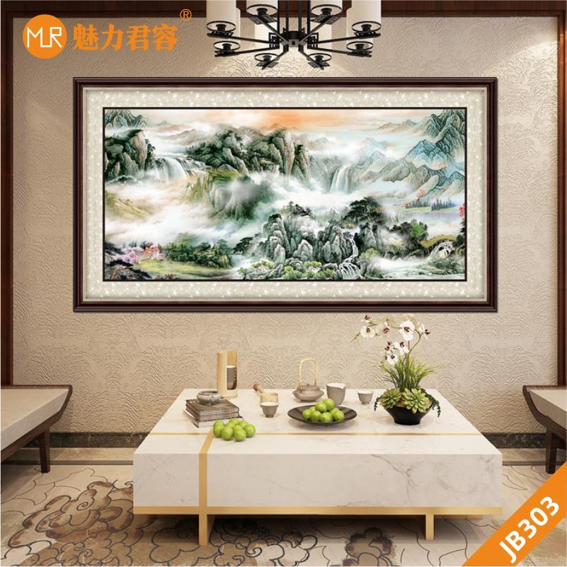 客厅沙发背景墙挂画聚宝盆山水画鸿运当头靠山壁画办公室装饰墙画