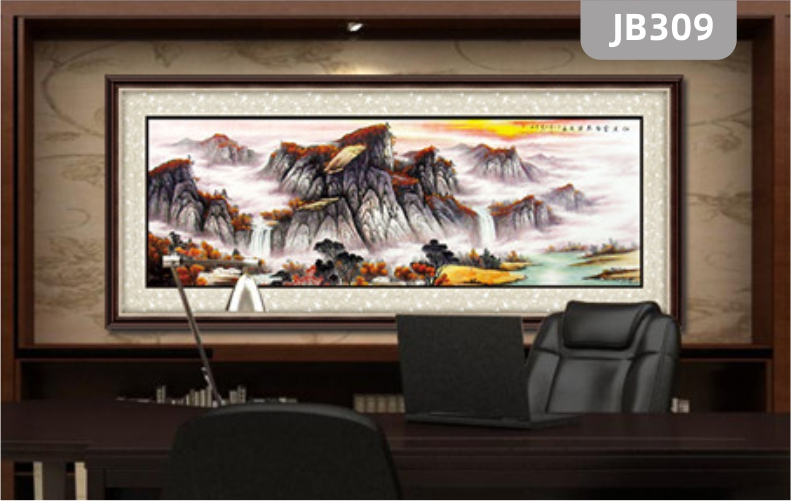 山水画客厅装饰挂画流水生财风水画新中式办公室招财风景背景墙壁画