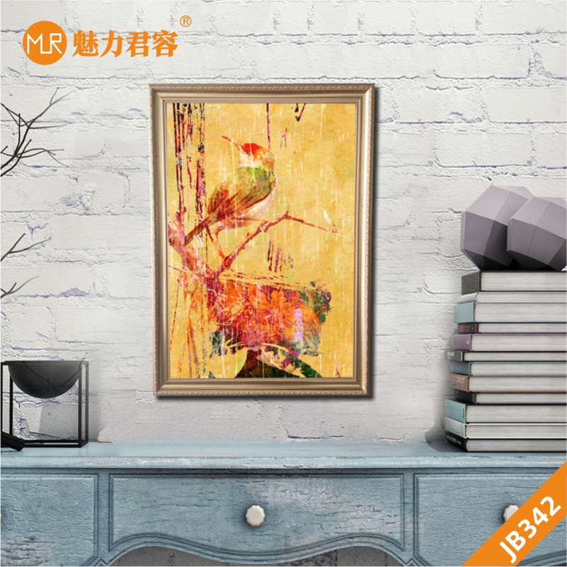 手绘抽象黄色啄木鸟美式现代简约北欧抽象单联大幅客厅沙发背景墙装饰画