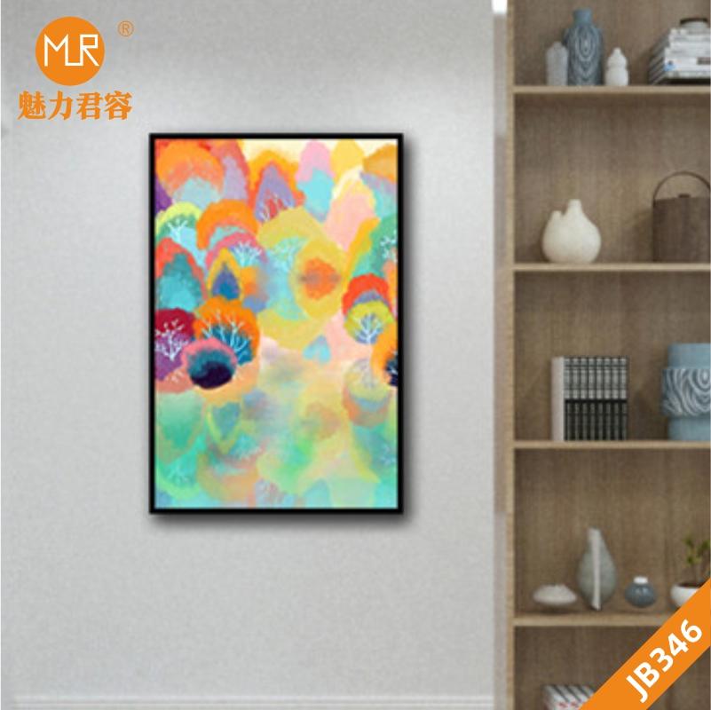 手绘抽象玄关现代简约彩色抽象生命树北欧单幅客厅装饰画挂画晶瓷画