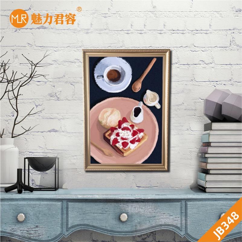 莓蛋糕挂画面包甜点装饰画客厅沙发背景墙挂画创意糕点餐厅装饰画