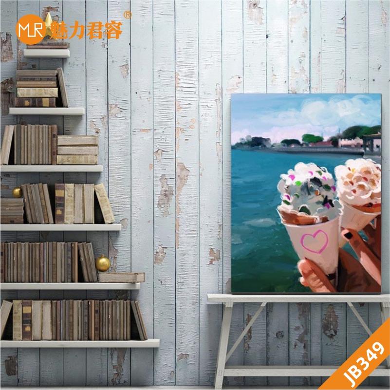 现代客厅装饰画休闲吧会所壁画客厅沙发背景墙挂画冰淇淋奶茶挂画
