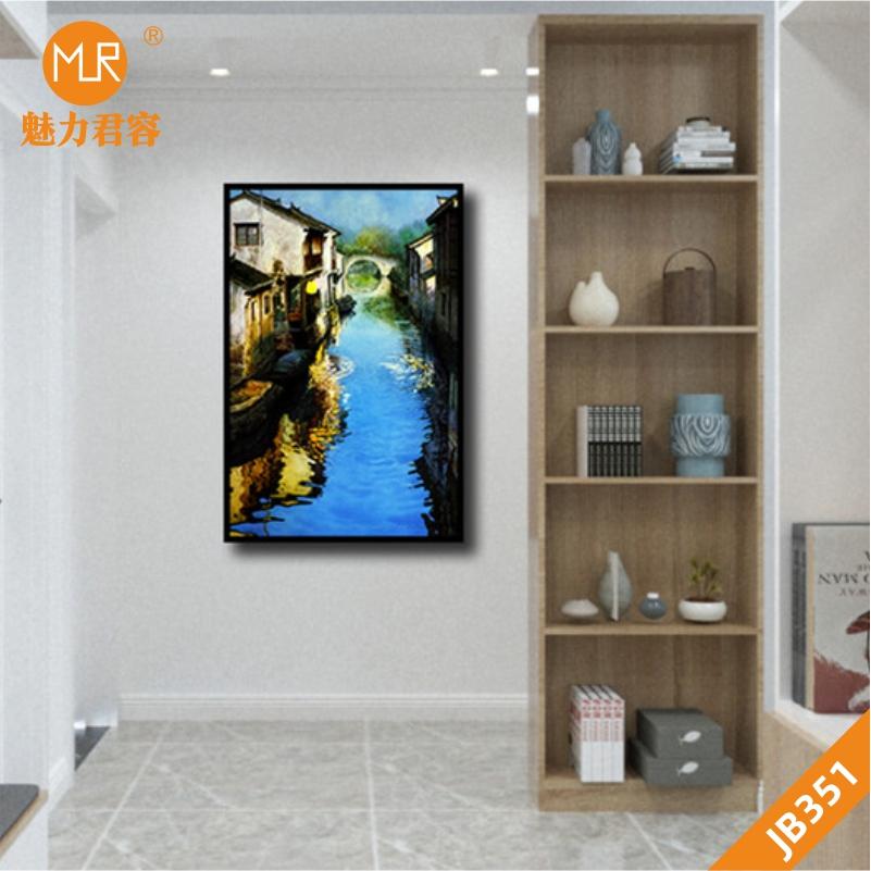 乡村美景房屋河流装饰画手绘夜景填色客厅装饰画沙发背景墙挂画壁画