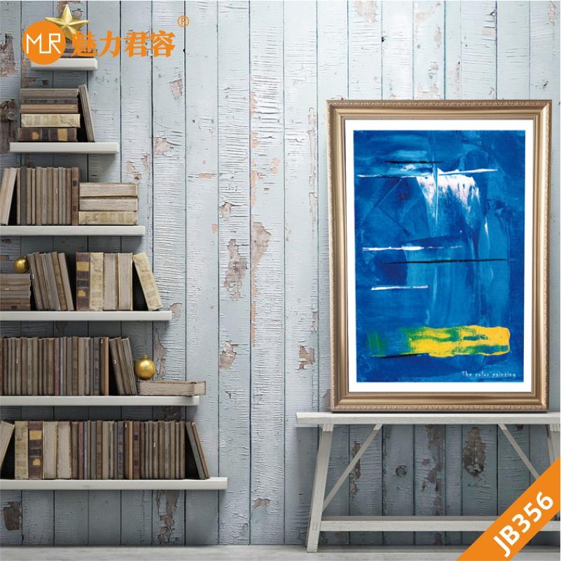 手绘蓝色图画现代抽象轻奢客厅装饰画竖版走廊挂画沙发背景墙挂画