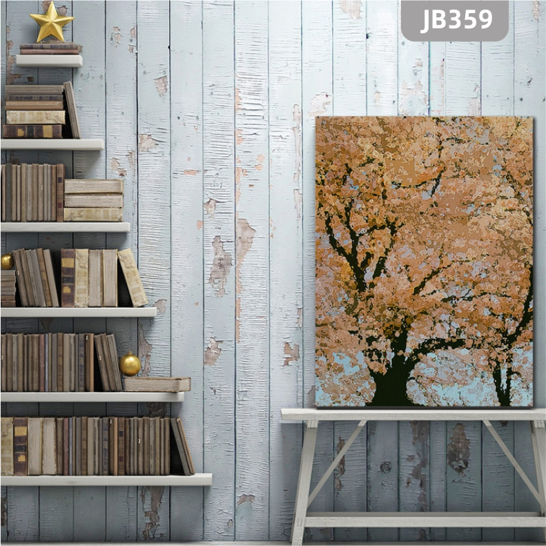 手绘玄关发财树装饰画过道走廊入户竖版壁画新中式客厅摇钱树挂画