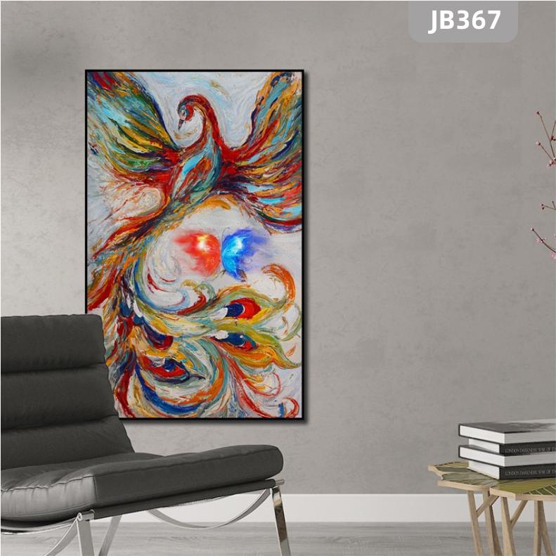 手绘凤凰飞舞画入户玄关装饰画卧室客厅挂画中国风走廊过道装饰壁画