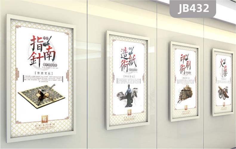 四大发明幼儿园学校墙面装饰画中国传统文化墙壁画笔墨纸砚挂画壁画