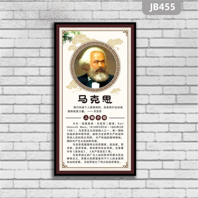马克思简介海报画像伟人名人名言图片贴画挂画家居客厅装饰画墙贴