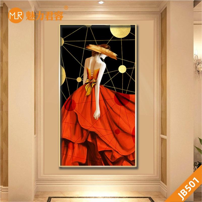 现代轻奢服装店装饰画美容院人物美女壁画客厅玄关走廊衣帽间挂画