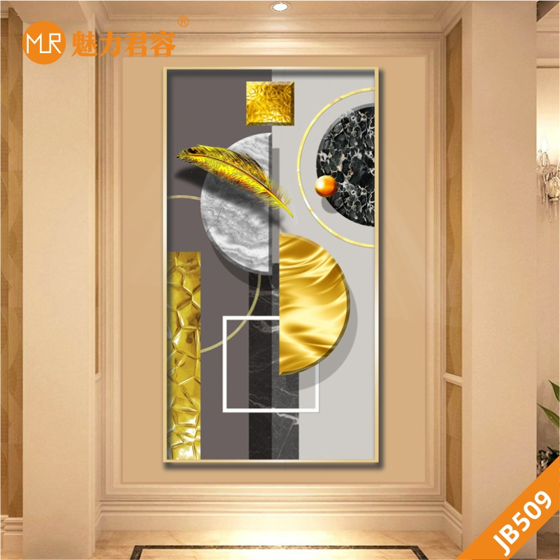 美式简约轻奢风羽毛圆形玄关装饰画金箔油画挂画竖版走廊过道壁画