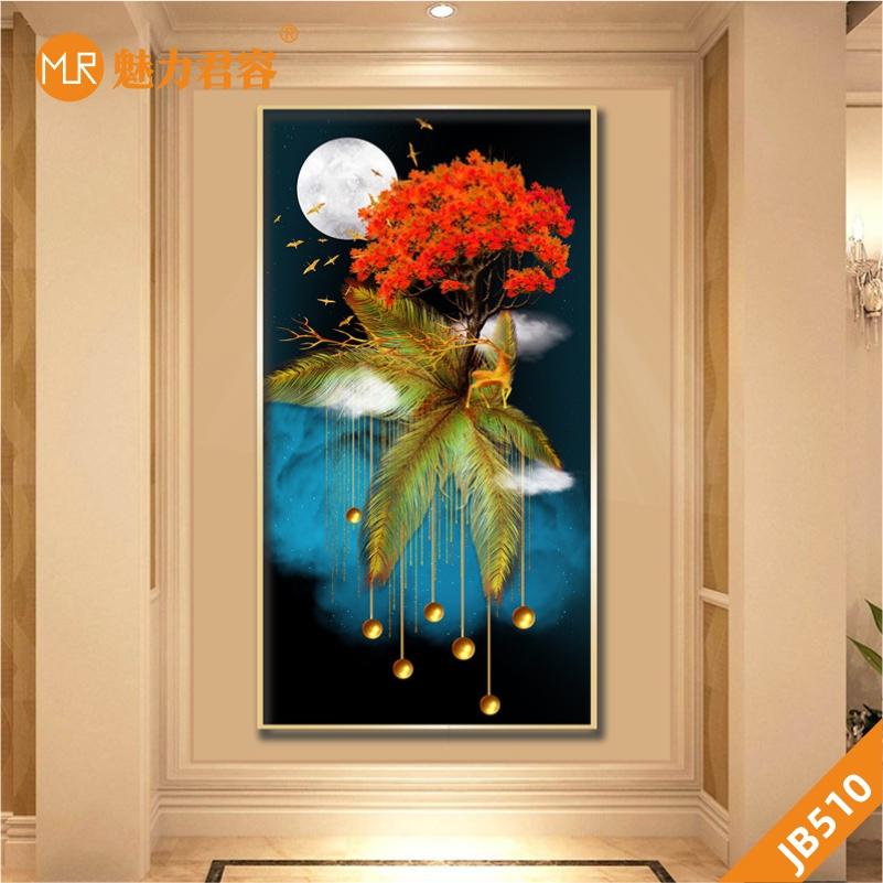 新中式简约轻奢麋鹿发财树挂画客厅玄关装饰画晶瓷沙发背景墙壁画