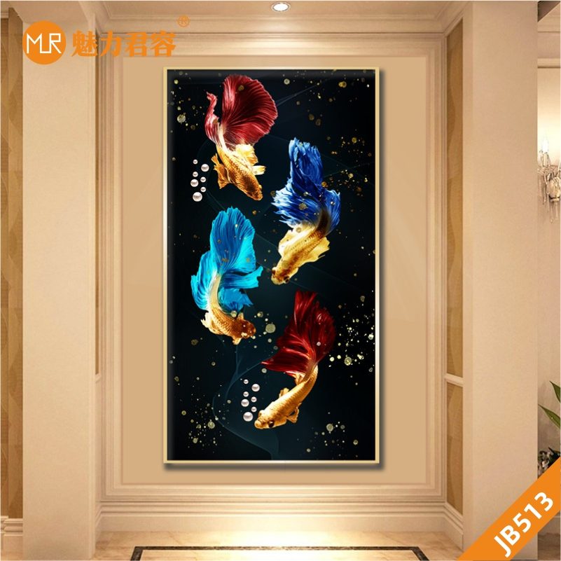 黑色轻奢客厅装饰画玄关挂画卧室床头沙发背景墙晶瓷画彩色金鱼挂画