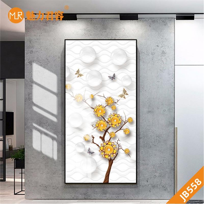 金色蝴蝶飞舞装饰画玄关轻奢美式壁画现代客厅两联简约挂画北欧画