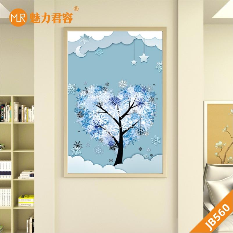 卧室装饰画梦幻蓝色个性儿童房挂画男孩女孩创意星星月亮爱心树挂画