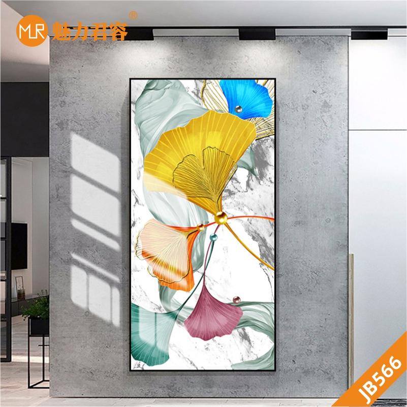 手绘艺术现代轻奢银杏叶客厅玄关装饰画彩色银杏叶珍珠装饰画壁画