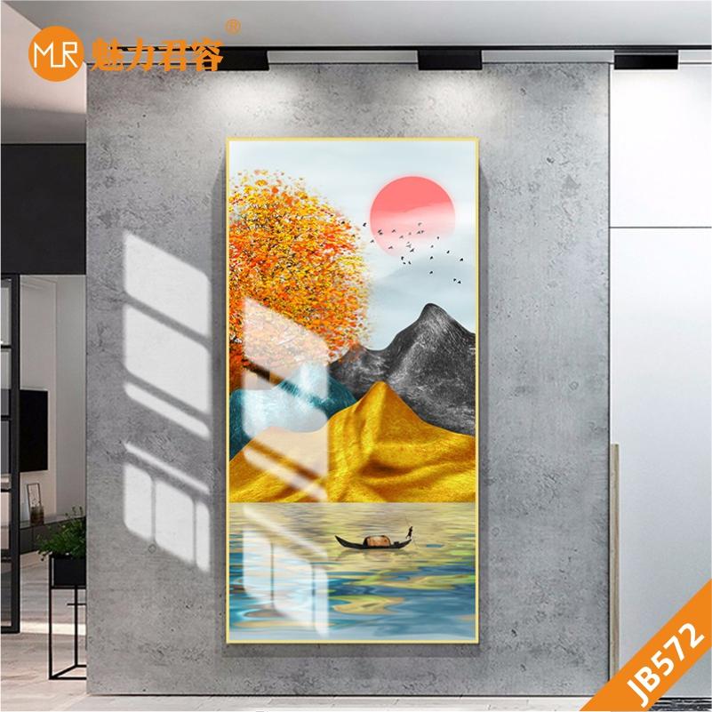 现代轻奢玄关客厅装饰画日出画金色金泊抽象招财山水画挂画沙发背景墙