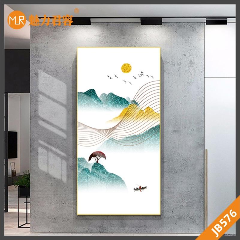 北欧抽象山峰日出太阳飞鸟装饰画玄关挂画客厅沙发背景墙手绘挂画