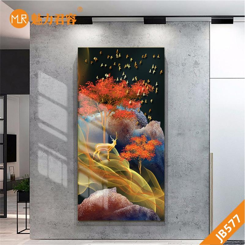 新中式山水意境飞鸟飘带金色麋鹿客厅装饰画沙发背景墙挂画玄关挂画