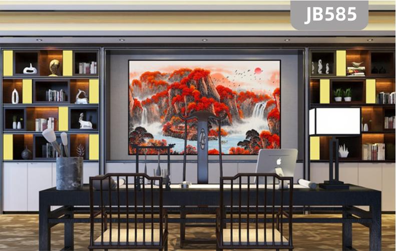 国画鸿运当头山水画聚宝盆客厅办公室挂画招财风水靠山装饰墙壁画