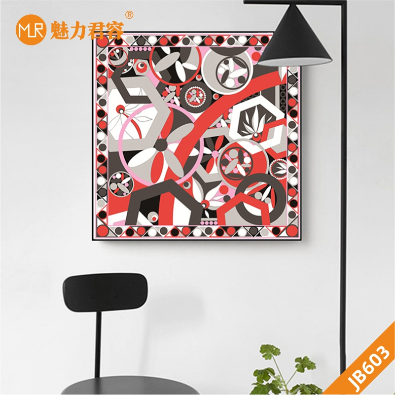 客厅装饰画北欧风挂画现代抽象壁画正方形几何图形壁画沙发背景墙挂画