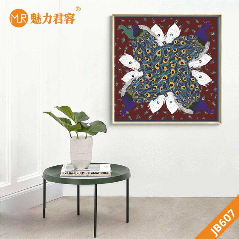 现代简约北欧风格客厅装饰挂画印染图案样板间壁画沙发背景墙挂画