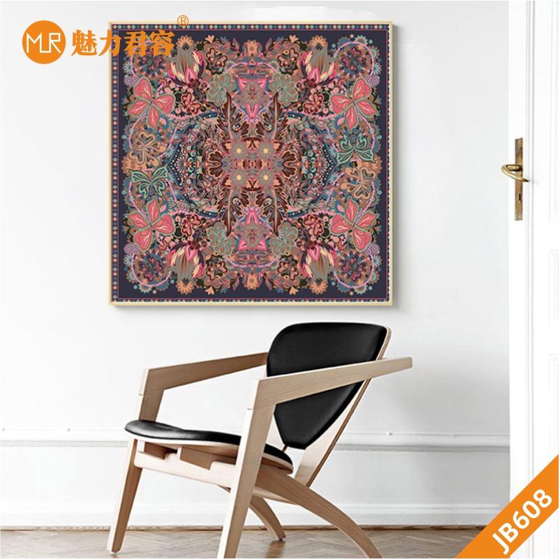 花卉蝴蝶油画手绘简美现代中式挂画客厅走廊餐厅卧室方形装饰挂画