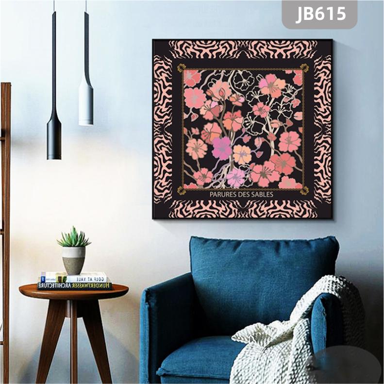 纯手绘粉色花卉抽象客厅装饰画现代餐厅挂画沙发背景墙卧室床头挂画