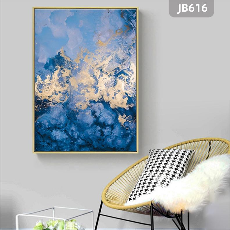 北欧风格蓝色森林装饰画客厅玄关挂画卧室书房样板房背景墙装饰挂画