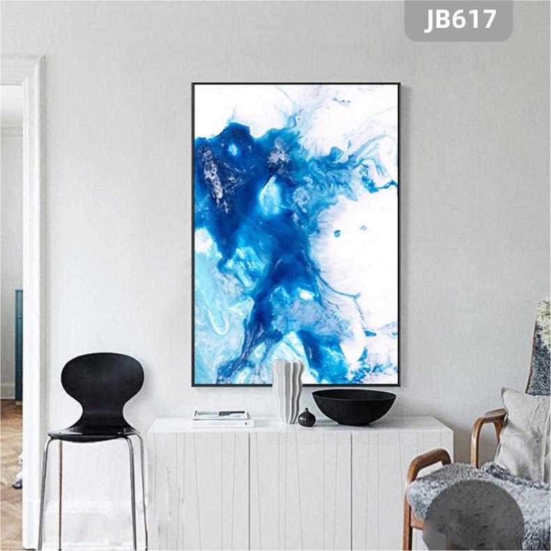 抽象立体线条手绘蓝色挂画玄关现代客厅挂画沙发背景墙卧室装饰画