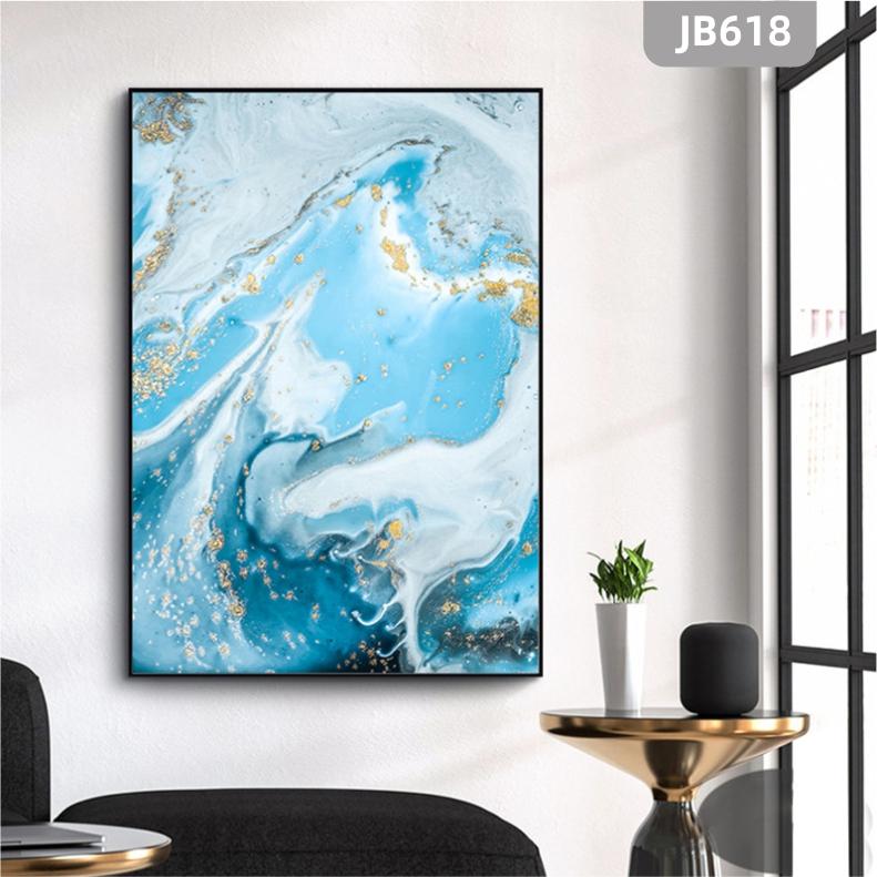美式轻奢蓝色金箔抽象海洋玄关装饰画现代简约客厅沙发背景墙挂画