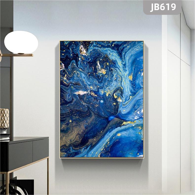 现代简约轻奢餐厅装饰画蓝色海洋风景挂画北欧风客厅玄关沙发背景墙画