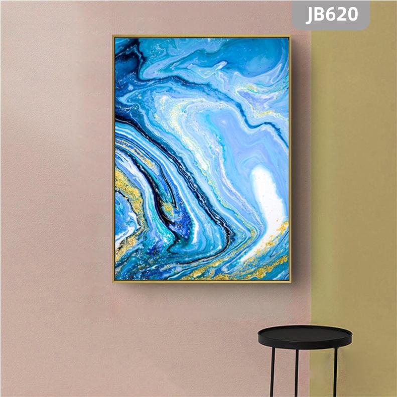 北欧玄关装饰画简约蓝色海洋抽象艺术轻奢餐厅卧室书房背景墙挂画