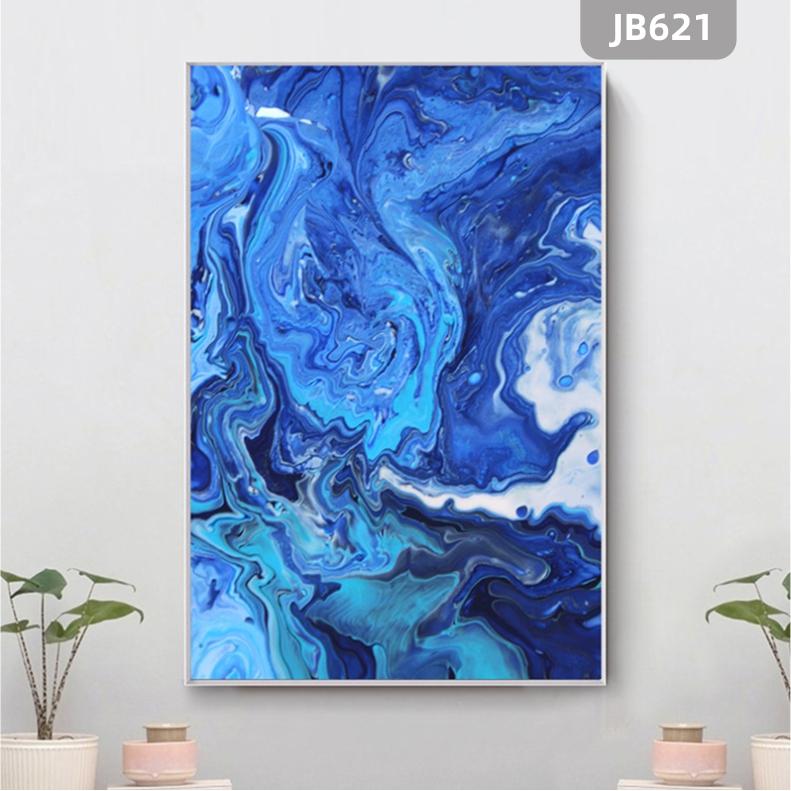 北欧简约现代艺术抽象蓝色河流山水装饰画玄关挂画客厅沙发背景墙挂画