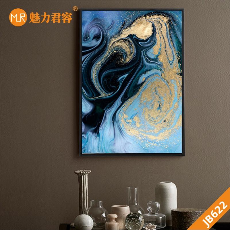 北欧新中式轻奢蓝色金色抽象河流山水玄关挂画客厅高档装饰画书房挂画