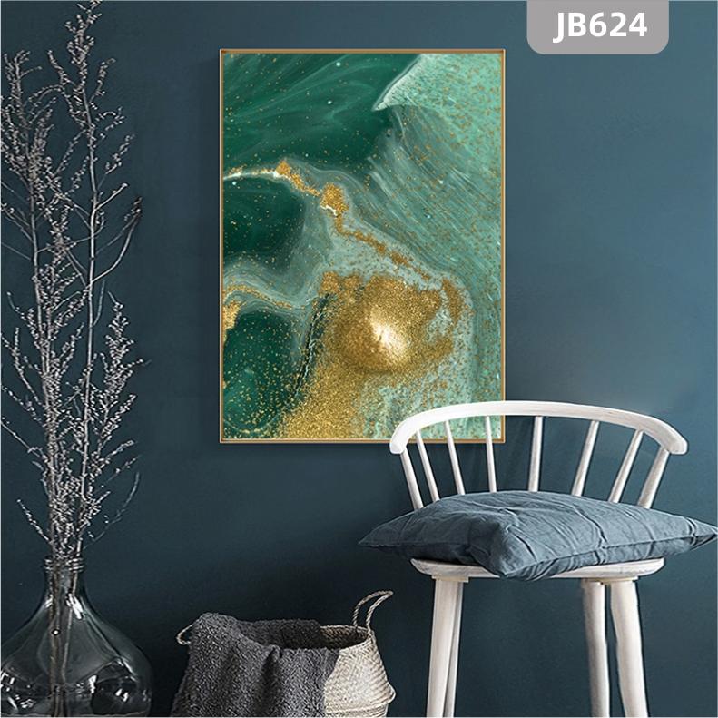 现代轻奢玄关装饰画抽象大气过道廊尽头晶瓷挂画客厅蓝色海洋金箔壁画