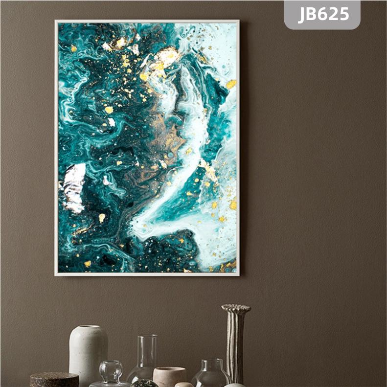 美式轻奢玄关装饰画现代简约客厅沙发背景墙挂画蓝色金箔抽象海洋