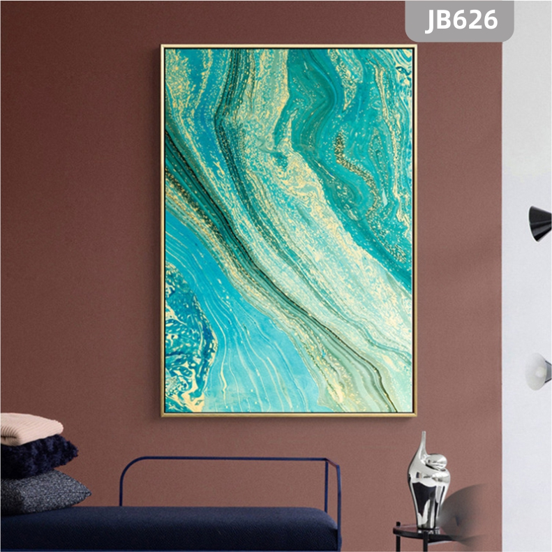 简约北欧轻奢抽象山川河流鎏金蓝色玄关装饰画客厅沙发背景墙挂画