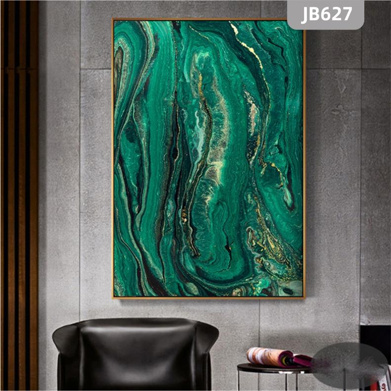 简约轻奢北欧手绘抽象绿色大海河流山川玄关挂画客厅沙发背景墙装饰画