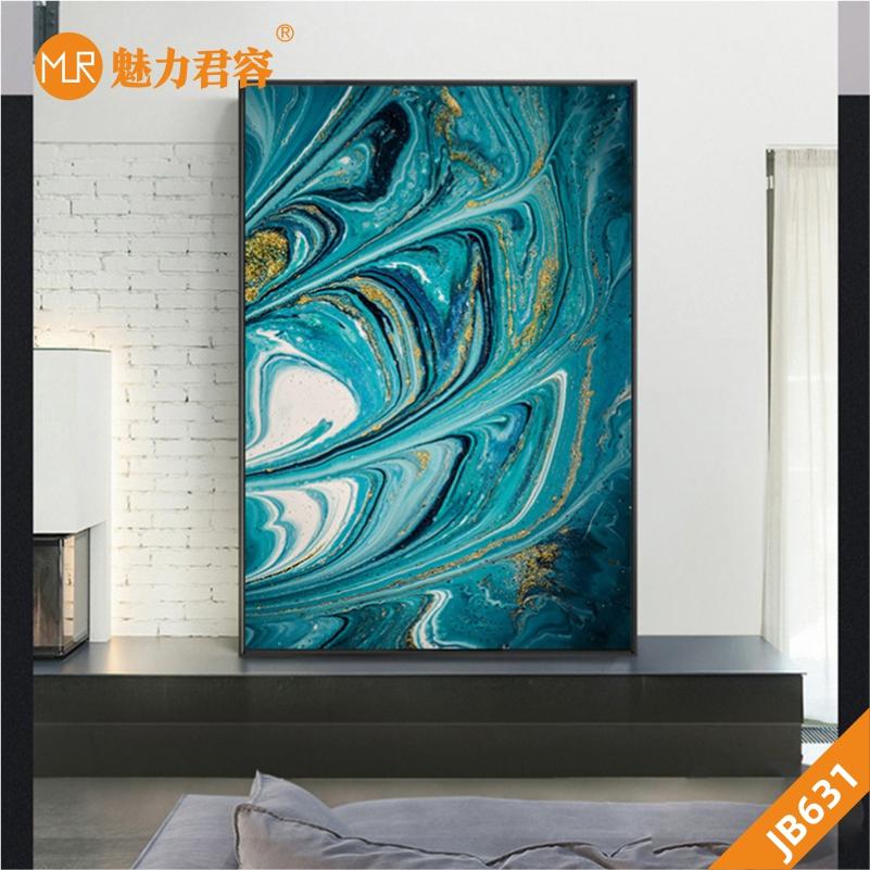 北欧简约轻奢鎏金岁月玄关装饰画客厅床头画抽象蓝色金箔线条挂画