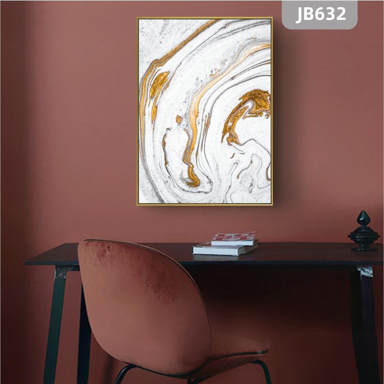 北欧轻奢玄关装饰画简约金色线条走廊挂画入户尽头大气抽象客厅壁画