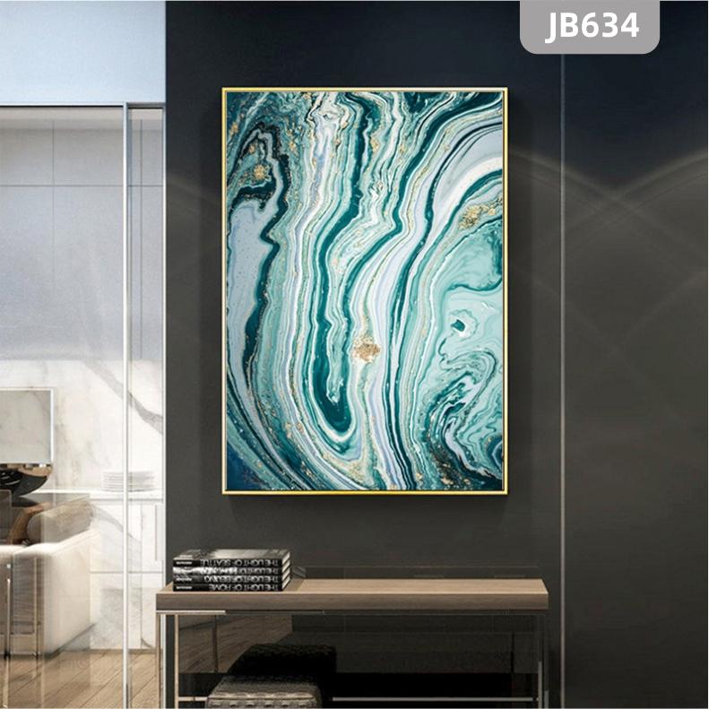 意境蓝色肌理抽象水墨山水大理石纹理玄关装饰画客厅卧室背景墙挂画