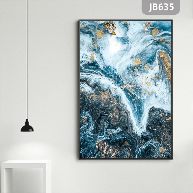 蓝色抽象水墨山水大理石纹理背景装饰画玄关挂画客厅书房背景墙挂画