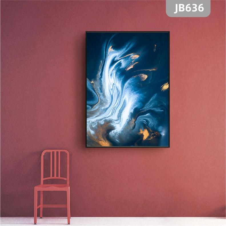 抽象鎏金大理石水彩底纹背景设计素材蓝色纹理流体玄关客厅装饰画