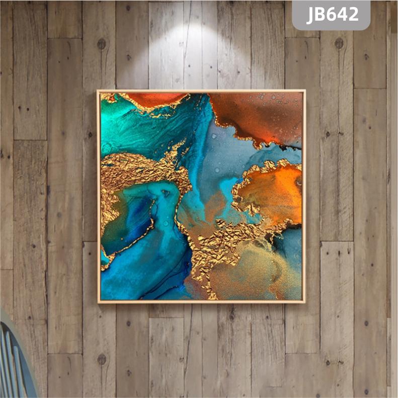 新中式抽象色彩图形坂块搭配装饰画客厅书房墙挂画沙发背景墙壁画