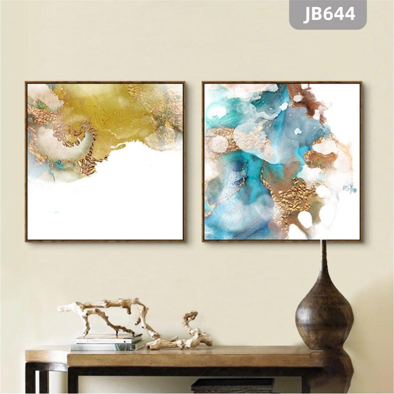 抽象房间床头水墨挂画现代艺术客厅主卧室两联装饰画简约色彩壁画